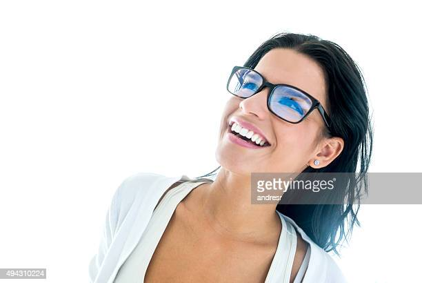 Thoughtful woman wearing glasses