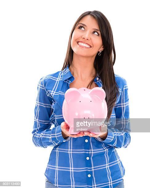 Thoughtful woman with savings