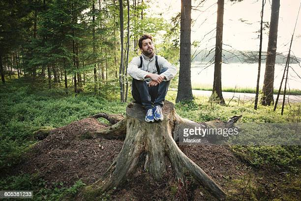 Thoughtful wonderlust man sitting on tree stump in forest