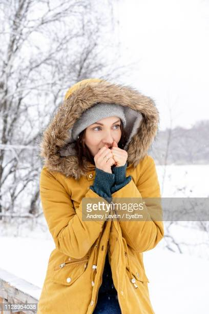 thoughtful young woman sitting on railing in snow covered forest - yellow coat stock pictures, royalty-free photos & images