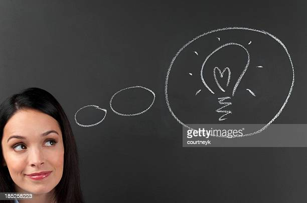 thoughtful young woman thinking a big idea - copyright stock photos and pictures