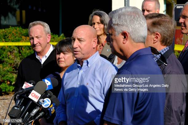 Thousand Oaks mayor Andy Fox calls for community support and blood donations for the victims of the Borderline Bar Grill shooting in Thousand Oaks CA...