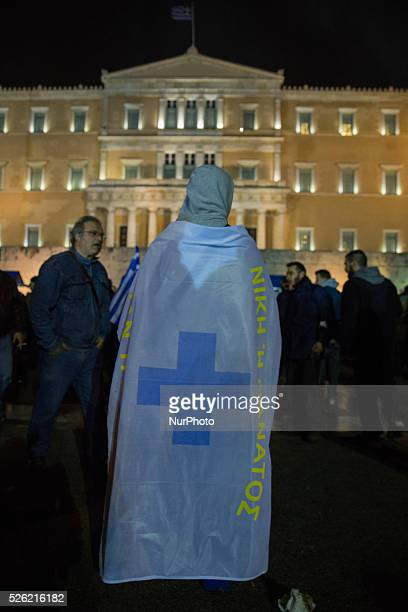 Thousand of Greek citizens march ahead Syntagma Square and in the street of Athens on Friday 12th February 2016 They support Greek Farmers and they...
