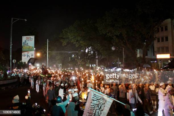 Thousand of Indonesian Muslims held a torch parade to welcoming the Islamic New Year 1440 Hijriyah in Bogor West Java Monday September 10 2018...