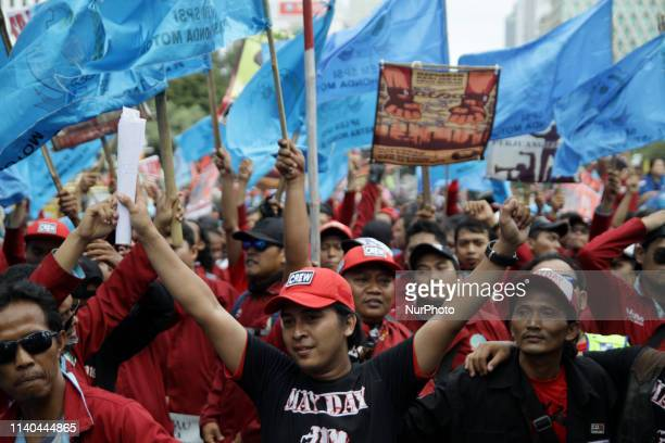 Thousand of labours from various labour organizations commemorating the International Labour Day or knows as May Day in Jakarta on May 1 2019 In the...