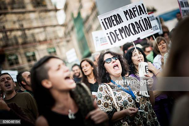 Thousand of people gathering in Puerta del Sol in Madrid on Oct 25 2013 demanding the resignation of the government under the motto out with the...