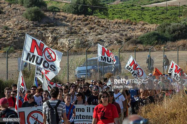 NISCEMI CALTANISSETTA ITALY Thousand of protesters parade towards the Naval Radio Transmitter Facility Niscemi where Mobile User Objective System is...