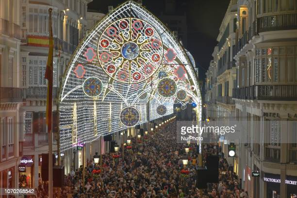 Thousands admire the light and son show on Larios Street decorated during the Christmas Season 2018 On Saturday December 8 in Malaga Andalusia Spain