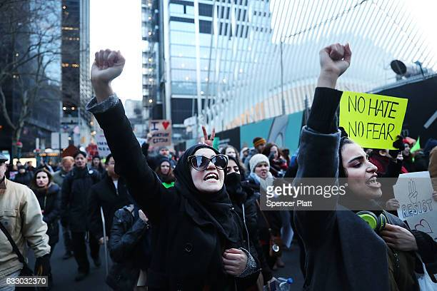 Thousands attend an afternoon rally in lower Manhattan to protest President Donald Trump's new immigration policies on January 29 2017 in New York...
