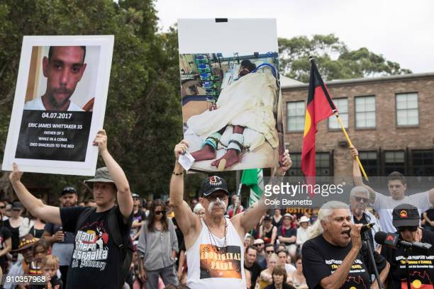 Thousands attend an Invasion Day rally in Redfern on January 26 2018 in Sydney Australia Australia Day formerly known as Foundation Day is the...