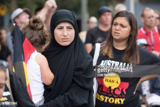 Thousands attend an Invasion Day rally on January 26 2018 in Sydney Australia Australia Day formerly known as Foundation Day is the official national...