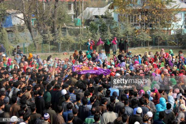 Thousands attend funeral procession of slain Kashmiri rebel Waseem Ahmad of Jaish outfit at Drabgam village of Pulwama District 72 km from Srinagar...