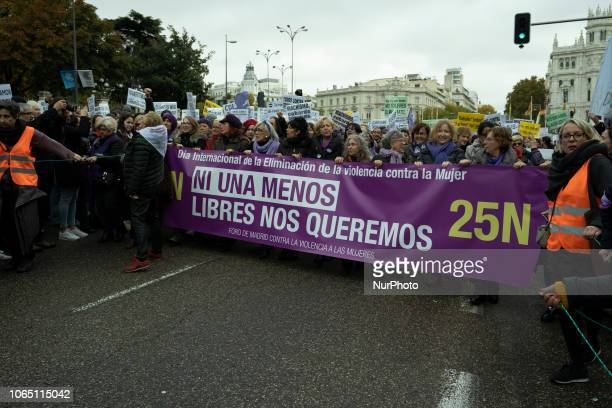 Thousands attend the demonstration called on occasion of the International Day for the Elimination of Violence Against Women in Madrid Spain 25...