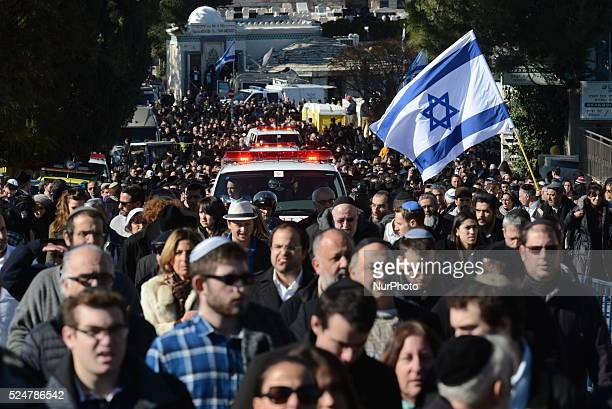 Thousands attend the funeral of four Jewish victims of the Kosher supermarket terror attack in Paris on January 13 in Jerusalem Israel Thousands of...