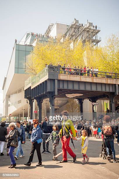 Thousands crowd the trendy Meatpacking District in New York on Saturday May 2 2015 for the Whitney Museum of American Art street fair celebrating the...