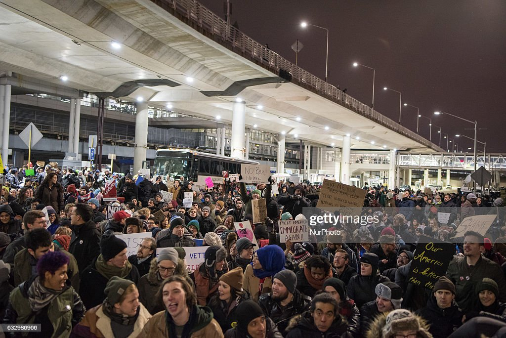 Protestors Rally At Chicago O'Hare Airport Against Muslim Immigration Ban : News Photo