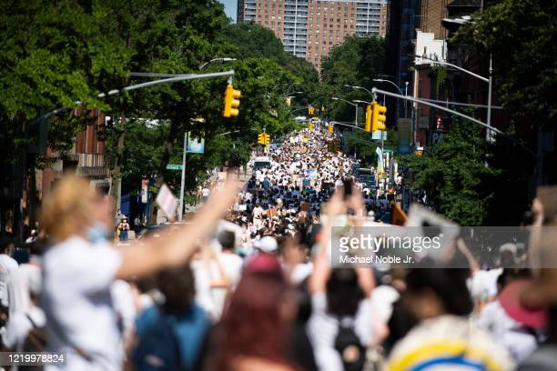 Thousands fill the streets in support of Black Trans Lives Matter and George Floyd on June 14 2020 in the Brooklyn borough of New York City Protests...