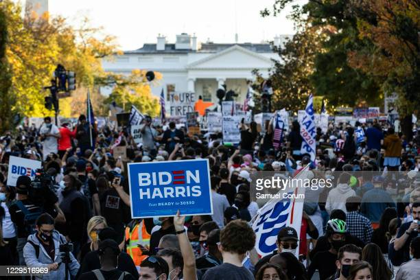 Thousands gather at Black Lives Matter Plaza near the White House to celebrate the announcement that Democratic presidential nominee Joe Biden will...
