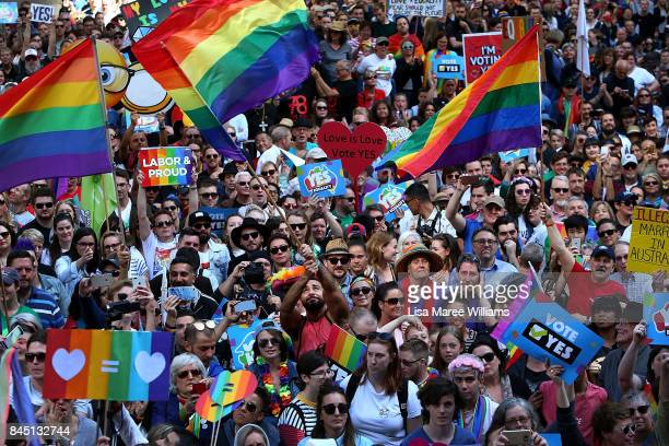 Thousands gather at Sydney Town Hall to support a yes vote for the upcoming samesex marriage survey on September 10 2017 in Sydney Australia The High...