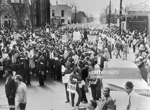 Thousands gather before the Clayborn Temple AME Church in Memphis March 28th before the start of a mass march led by Dr Martin Luther King Jr The...