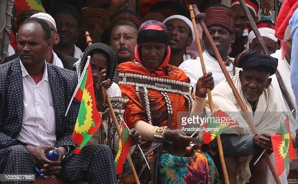 Thousands gather for welcoming ceremony for Dawud Ibsa leader of the oncebanned Oromo Liberation Front at Meskel Square in Addis Ababa Ethiopia on...