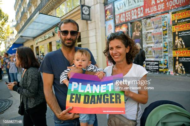 Thousands gather in front of the town Hall to march against climate change on September 8 2018 in Paris France The Climate summit opens next week in...
