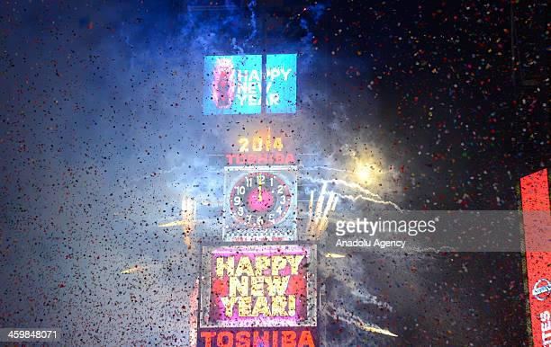 Thousands gather in New York's Times Square to celebrate the ball drop during the annual New Years Eve celebration on January 1 2014 in New York City
