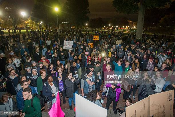 Thousands gather in the Boston Common to protest the election of Donald Trump on November 9 2016 in Boston Massachusetts Trump defeated Democrat...