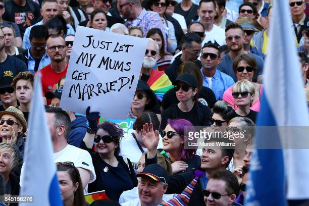 Thousands gather to rally for marriage equality ahead of a national postal survey on September 10 2017 in Sydney Australia The High Court handed down...