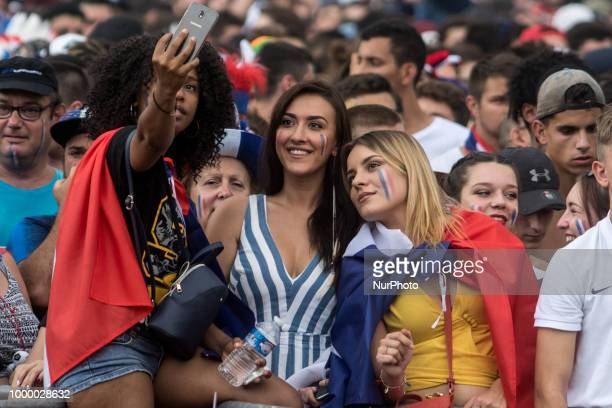 Thousands gathered at Place Belecour to watch the 2018 FIFA World Cup Final match between France v Croatia on a giant screen in Lyon France on July...