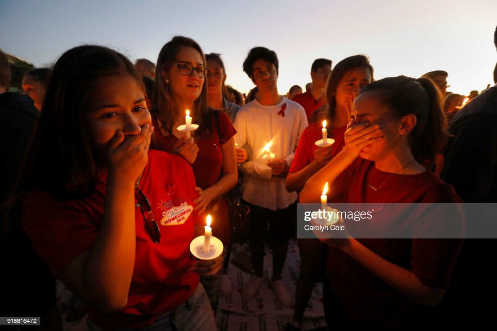 Thousands gathered for an evening vigil at Pine Trails Park in Parkland, Florida to remember those where were killed and injured in the shooting, on February 15, 2018 in Parkland, Florida..