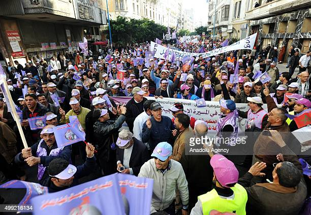 Thousands gathering at Nasr Square march towards Avenue Mohamed V during a protest against low wages in Casablanca Morocco on November 29 2015