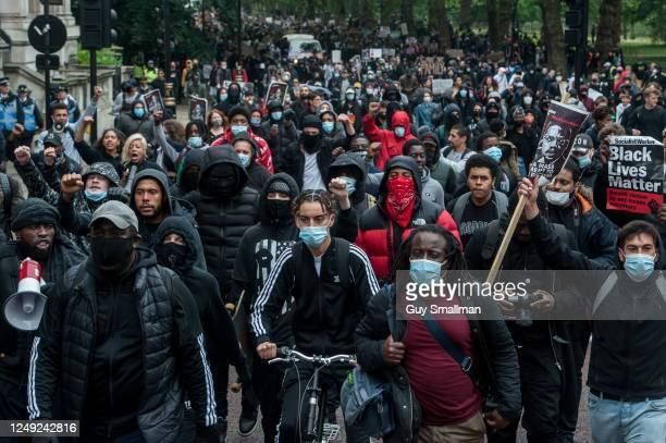 Thousands join a march down Park Lane as several thousand people attend a Black Lives Matter protest on June 12, 2020 in London, England. The death...