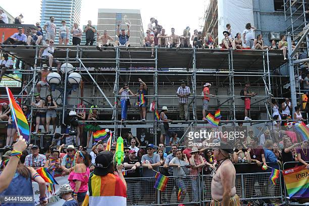 TORONTO ON JULY 3 Thousands lined the parade route during the the 2016 Toronto Pride parade along Yonge Street in Toronto July 3 2016