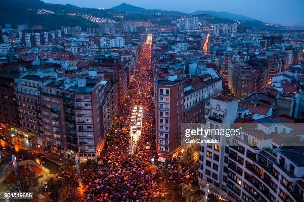 Thousands march during a demonstration organised by the citizen's network which is calling for an immediate end to the dispersal policy and the...