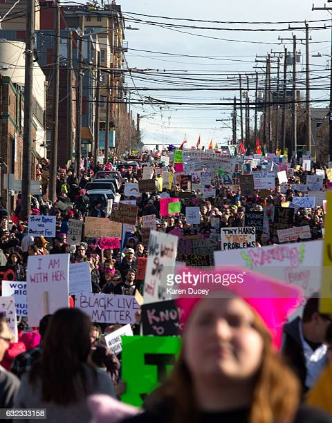 Thousands march in the Women's March in Seattle a day after the inauguration of President Donald Trump on January 21 2017 in Seattle Washington...