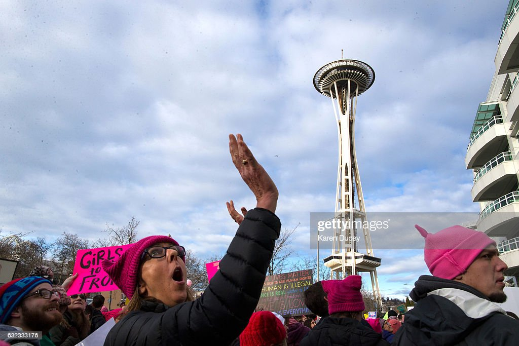 Thousands march in the Women's March in Seattle a day after the inauguration of President Donald Trump on January 21, 2017 in Seattle, Washington. Women's marches were held around the country in protest of the newly elected president and in support of human rights and women's rights.