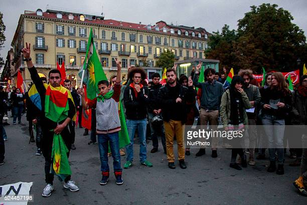 Thousands march through Turin Italy on October 13 2015 during a demonstration against the deadly attacks in Ankara and against Turikish President...