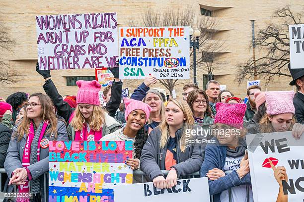 """Thousands of activists from across the United States and abroad gather on Independence Avenue in for a rally proceeding the """"Women's March"""" in..."""