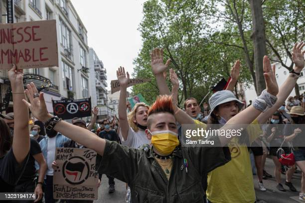 Thousands of activists take part in the anti-extreme right 'March of Freedoms', on June 12, 2021 in Paris, France. The event was one of over 140...