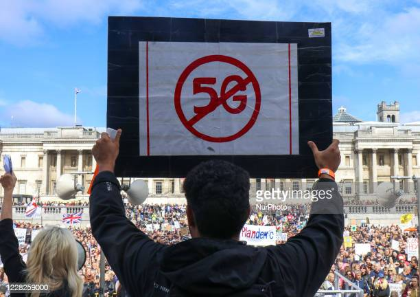 Thousands of Anti mask protesters gather at Trafalger Square against lockdown restrictions, mask wearing and vaccine proposals on August 29, 2020 in...