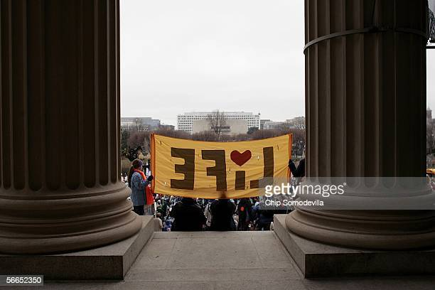 Thousands of antiabortion demonstrators carried banners and signs while marching down Pennsylvania Avenue during the March for Life January 23 2006...