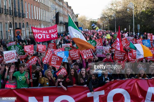 Thousands of Antiabortion protestors from around the Ireland gather in Dublin for the AllIreland Rally for Life march to Save the 8th amendment to...