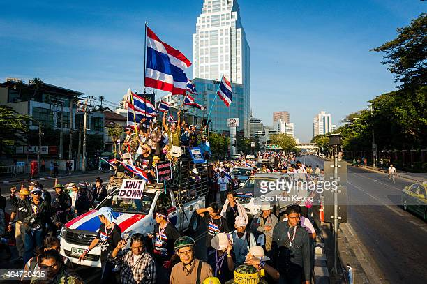 Thousands of anti-government protesters march from Lumphini Park along Rama 4 towards the Customs Department on the second day of what has been...