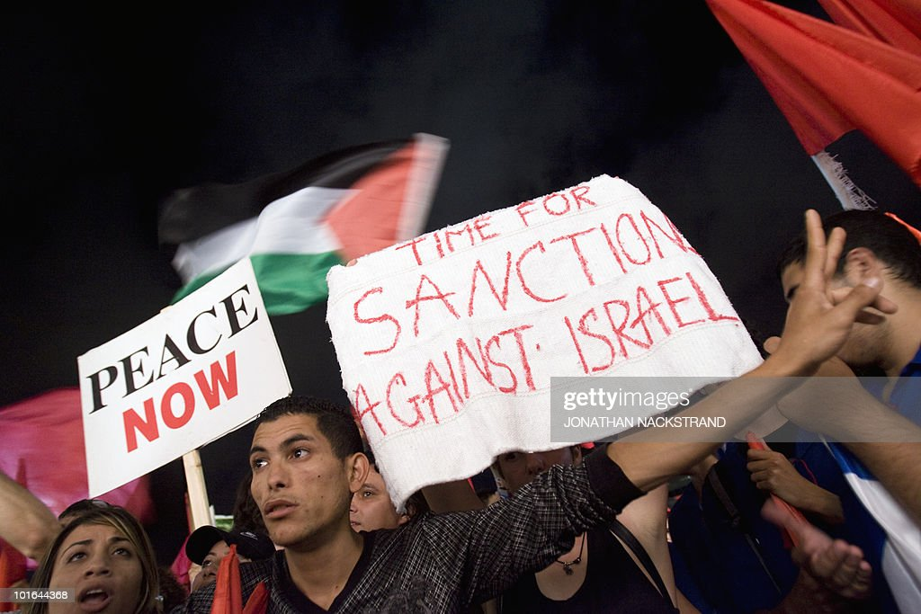 Thousands of Arabs and left-wing Jewish peace activists protest in the coastal Israeli port of Tel Aviv on June 5, 2010 against the occupation of Palestinian territories, marking the 43rd anniversary of their conquest in the 1967 Six-Day War.