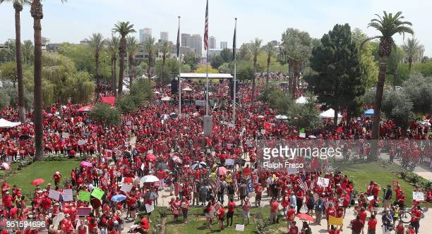 Thousands of Arizona teachers descend on the State Capitol during a rally for the #REDforED movement on April 26 2018 in Phoenix Arizona Teachers...