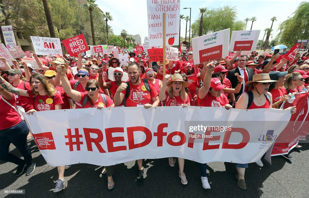 Arizona Teachers Go On Strike And March To State Capitol : News Photo