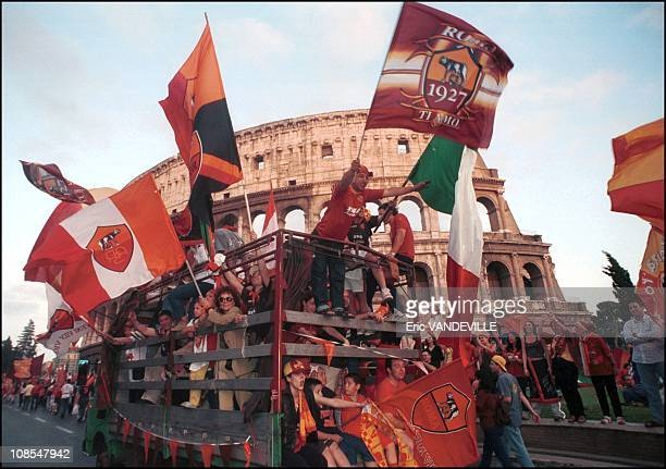 Thousands of AS Roma fans invaded the city to show their delight after their team won its third Italian soccer league title in 18 years when they...