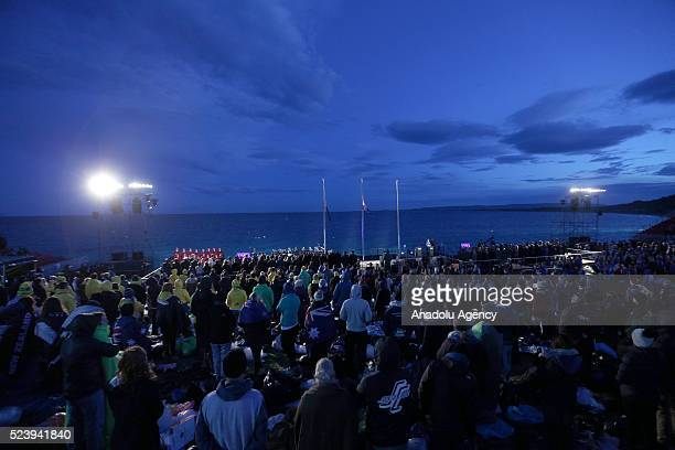 Thousands of Australian and New Zealander people attend the dawn service at Anzac Cove in commemoration of the 101th anniversary of Canakkale Land...