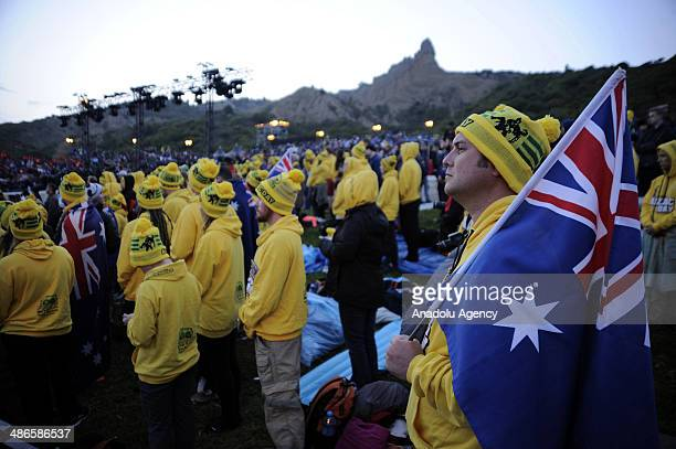 Thousands of Australian and New Zealander people attend the Dawn Service in Anzac Cove in commemoration of the 99th anniversary of Gallipoli land...